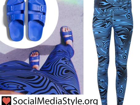 Kacey Musgraves' blue psychedelic print leggings and slide sandals