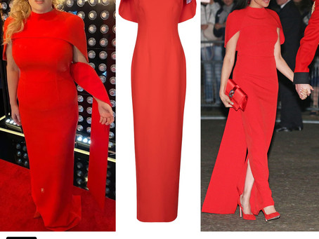 Meghan Markle and Rebel Wilson's red cape gown