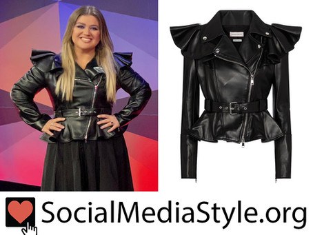 Kelly Clarkson's ruffled leather jacket from The Voice