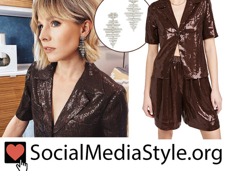 Kristen Bell's silver earrings and sequin top