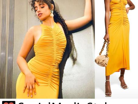 Camila Cabello's saffron yellow top and skirt