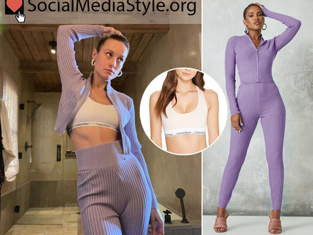 Brie Larson's sports bra and lilac purple ribbed cropped top and leggings