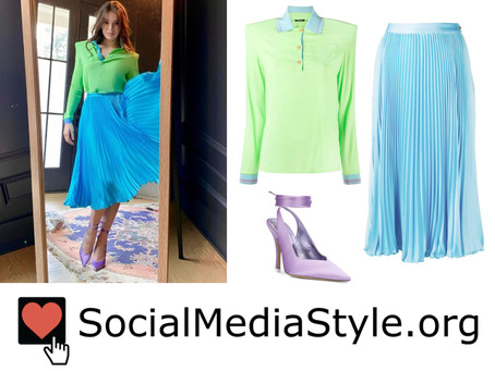 Hailee Steinfeld's green polo shirt, pleated turquoise skirt, and lilac pumps