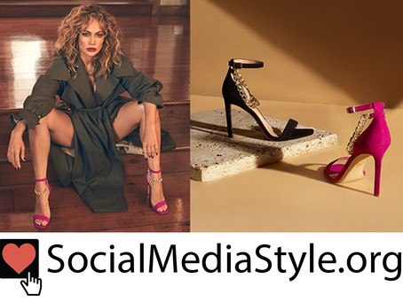 JLO JENNIFER LOPEZ pink chain detail sandals