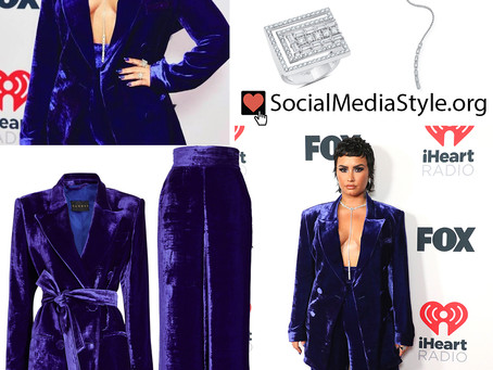 Demi Lovato's velvet blazer and wide leg pants and jewelry from the 2021 iHeartRadio Music Awards