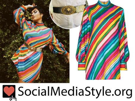 Demi Lovato's rainbow striped dress and gold belt