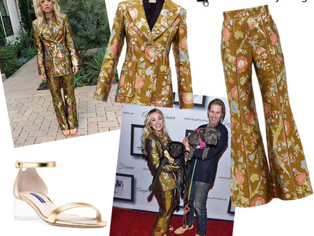 Kaley Cuoco's jacquard blazer and pants and gold sandals from the Stand Up For Pits charity event