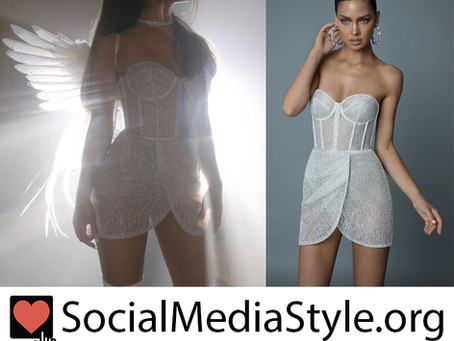 """Ariana Grande's white crystal mini dress from the """"Don't Call Me Angel"""" video"""