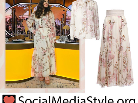 Drew Barrymore's floral print blouse and skirt from The Drew Barrymore Show