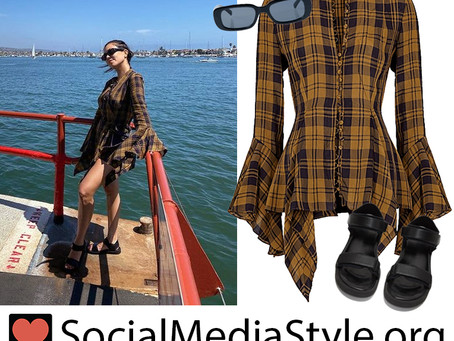 Kourtney Kardashian's plaid bell sleeve blouse, rectangular sunglasses, and velcro strap sandals