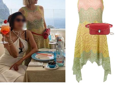 Kate Hudson's pastel lace dress and red belt bag