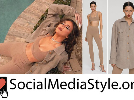Khloe Kardashian's Good American neutral sports bra, leggings, and jacket