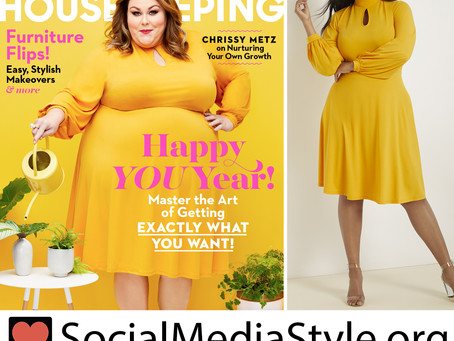 Chrissy Metz's yellow keyhole dress from Good Housekeeping