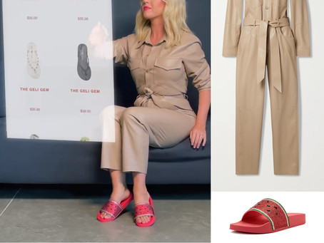 Katy Perry's nude vegan leather jumpsuit and fun shoes