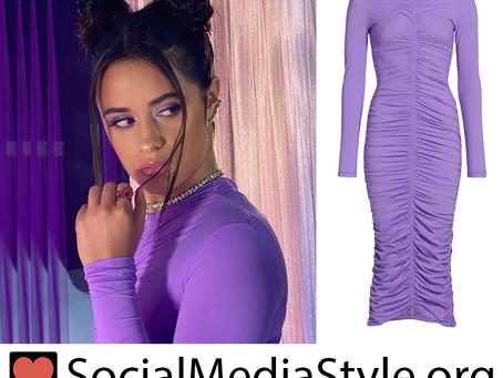 Camila Cabello's ruched purple dress