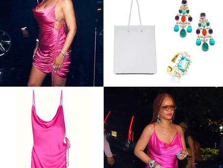 Rihanna's fuchsia dress and accessories