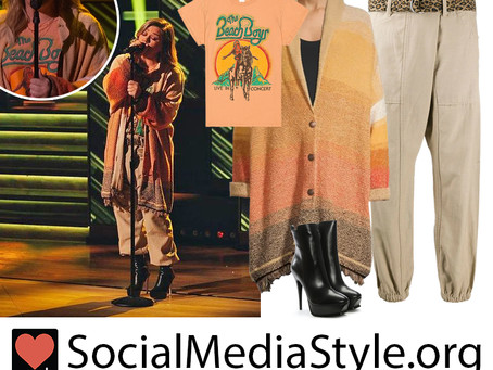 Kelly Clarkson's The Beach Boys t-shirt, cardigan, khakis, and boots from The Kelly Clarkson Show
