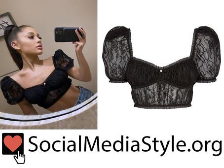 Ariana Grande's black lace crop top