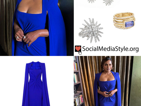 Mindy Kaling's blue cape gown and diamond jewelry from the SAG Awards 2021