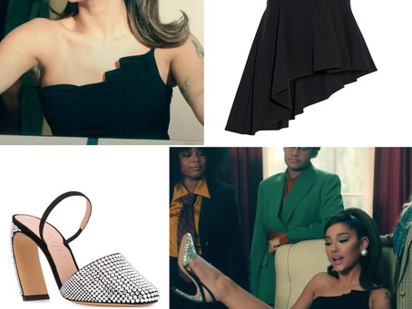 Ariana Grande's black strapless peplum top and crystal-embellished pumps from the Positions video