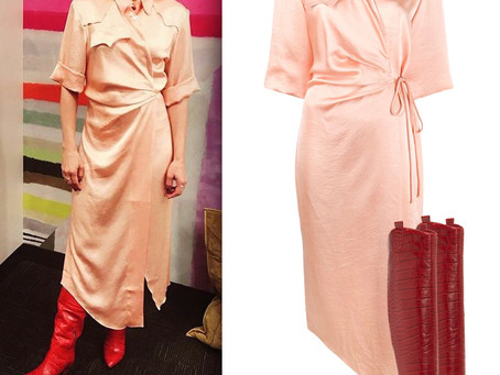 Kristen Bell's pink shirt dress and red snake boots from The Kelly Clarkson Show