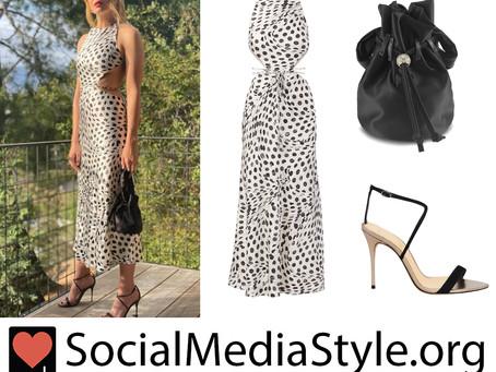 Mandy Moore's cutout polka dot dress and black drawstring bag and sandals