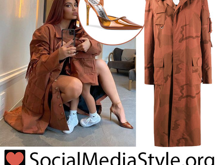 Kylie Jenner's brown camo jacket and pvc pumps