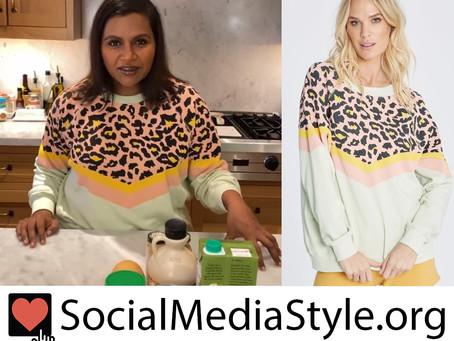 Mindy Kaling's pastel leopard print chevron sweatshirt
