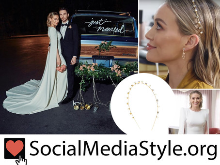 Hilary Duff's wedding gown and pearl and crystal headband