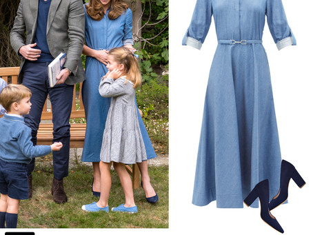 Kate Middleton's denim shirt dress and navy pumps