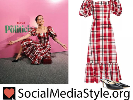 Zoey Deutch's plaid puff sleeve dress and black mules