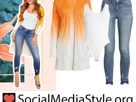 Sofia Vergara's ombre cardigan, white bodysuit, and skinny jeans