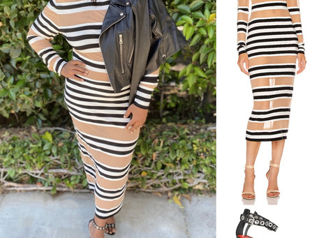 Mindy Kaling's sheer striped dress and grommet sandals