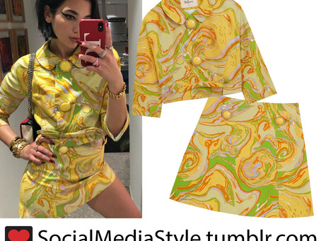 Dua Lipa's marble print jacket and skirt