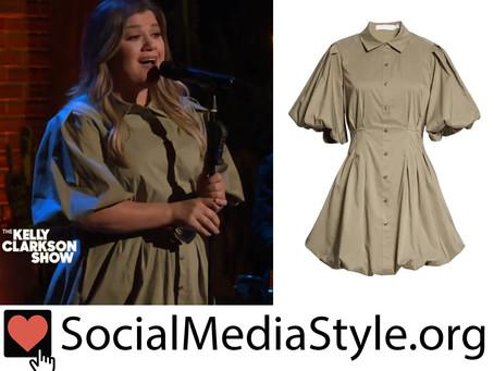 Kelly Clarkson's khaki green puff sleeve shirt dress from The Kelly Clarkson Show