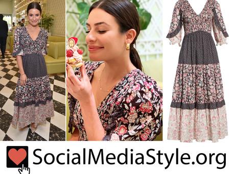 Lea Michele's mixed floral print dress