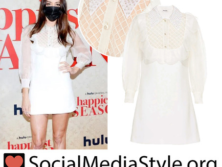 Aubrey Plaza's white dress from the Happiest Season premiere