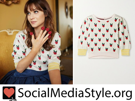 Zooey Deschanel's strawberry sweater