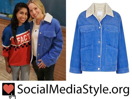 Kristen Bell's blue corduroy jacket