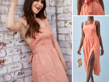 Zooey Deschanel's pink linen dress