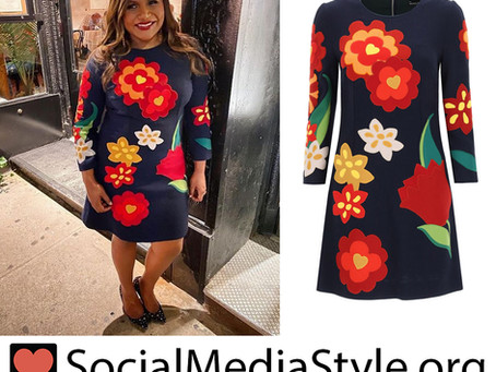 Mindy Kaling's graphic floral print dress
