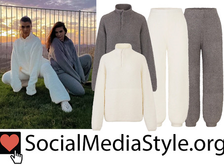 Kourtney Kardashian and Veronique Vicari Barnes' Skims teddy pullover sweatshirts and joggers