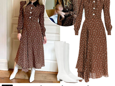 Kate Hudson's brown print dress and white boots