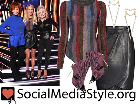 Carrie Underwood's geometric earrings, striped bodysuit, leather skirt, and fan shoes