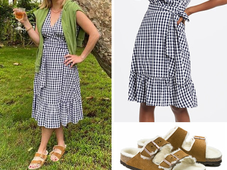 Reese Witherspoon's Draper James gingham dress and Birkenstock shearling slide sandals
