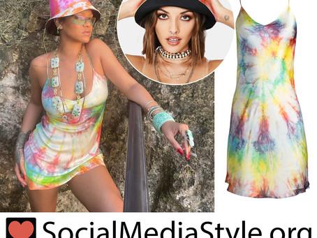 Rihanna's tie dye bucket hat and slip dress