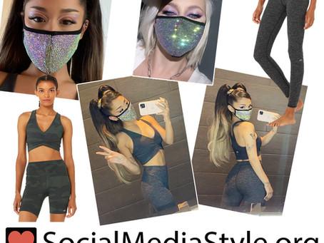 Ariana Grande's rhinestone face mask, camo sports bra, and grey leggings
