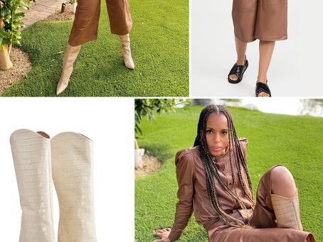 Kerry Washington's brown leather shirt and culottes and croc-embossed boots