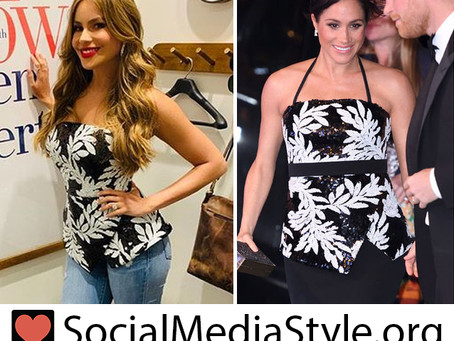 Sofia Vergara and Meghan Markle's Black and White Sequin Leaf Top