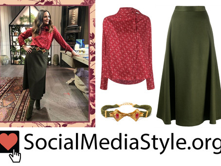 Drew Barrymore's red print blouse, embellished rope belt, & green skirt from The Drew Barrymore Show